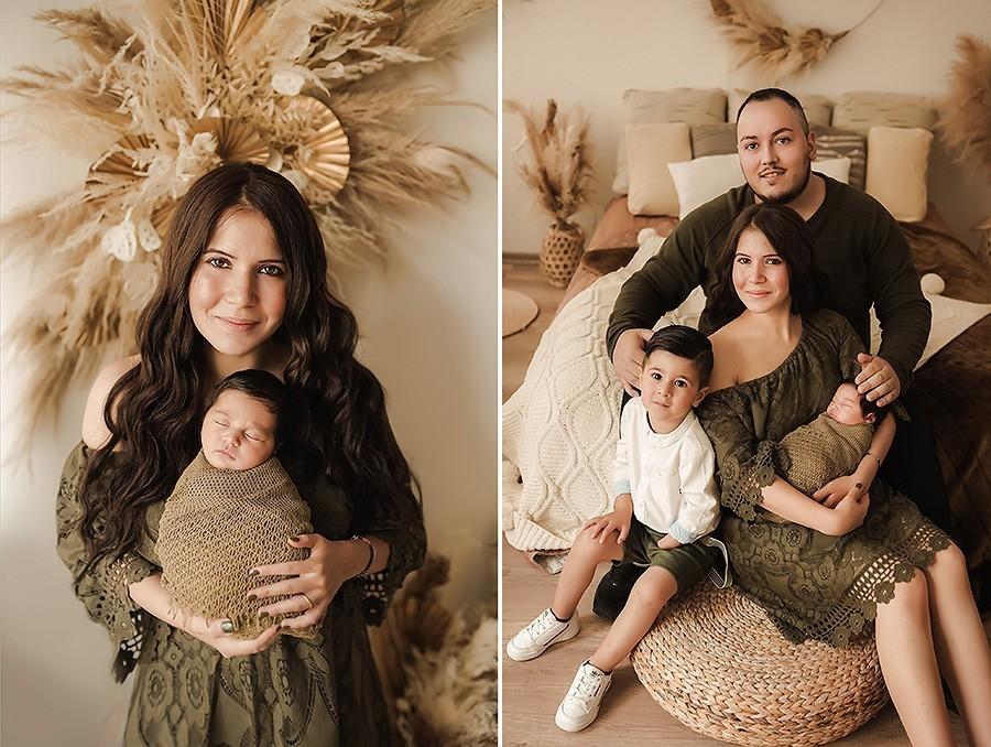 Neugeborenen-Fotoshooting in Boho-Lifestyle ab 14 Lebenstagen des Baby mit Familie möglich