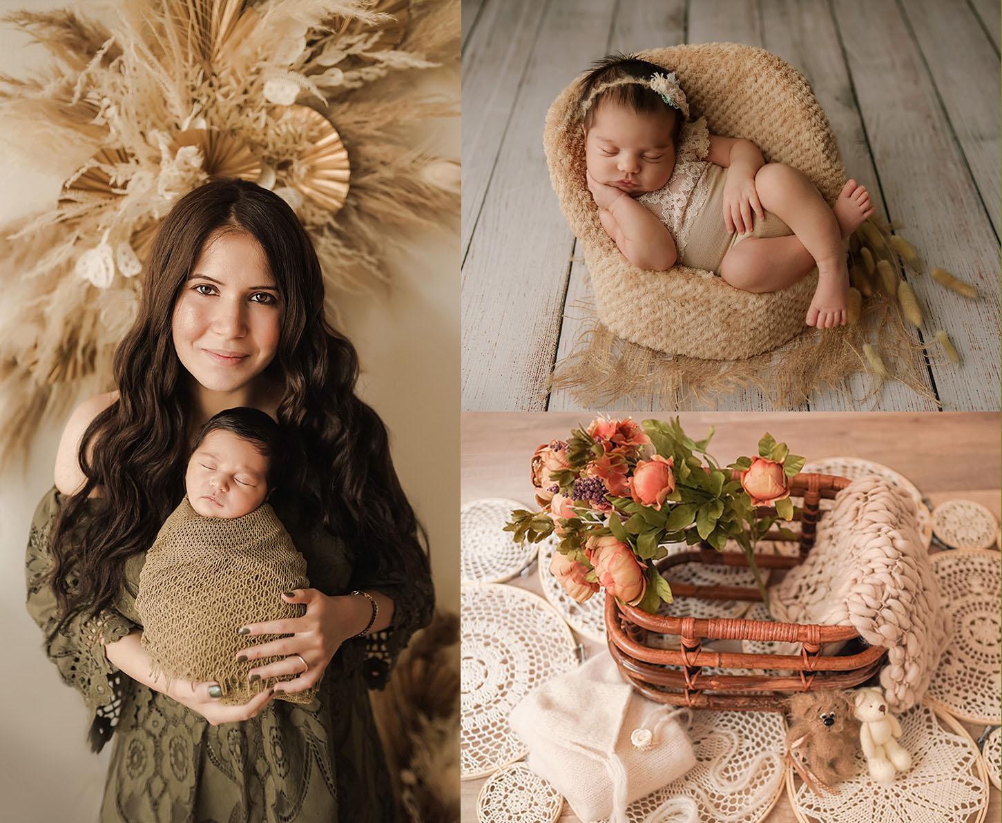 Gemütliches spezialisiertes Boho-Studio in beige braunen Farben für Neugeborenen Fotografie